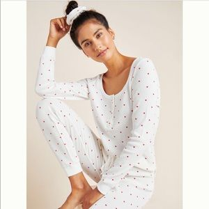 Anthro NWT Valentines Day Hearts Thermal Sleep Set